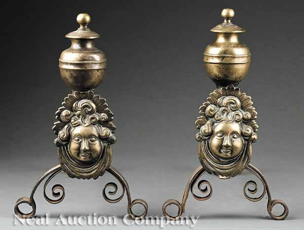 0657: Frenck Mask-Decorated Brass and Iron Andirons