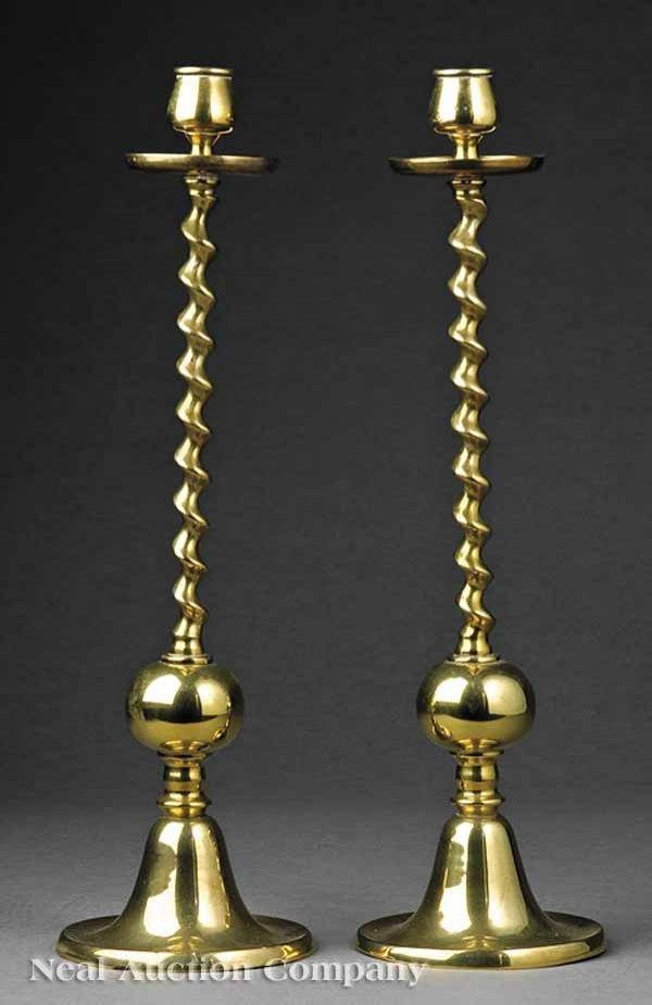 0658: Pair of Antique English Brass Candlesticks