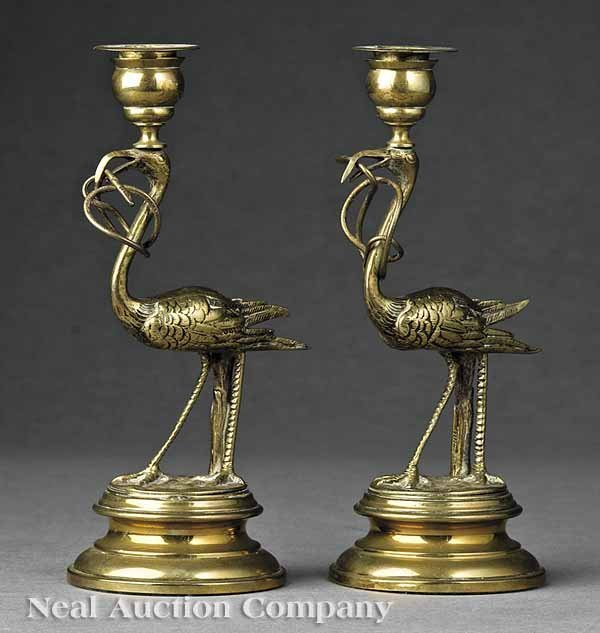 0659: Pair English Gilt Brass Figural Candlesticks