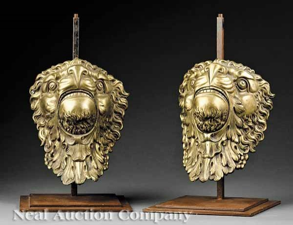 0661: French Bronze Lion's Head Furniture Mounts