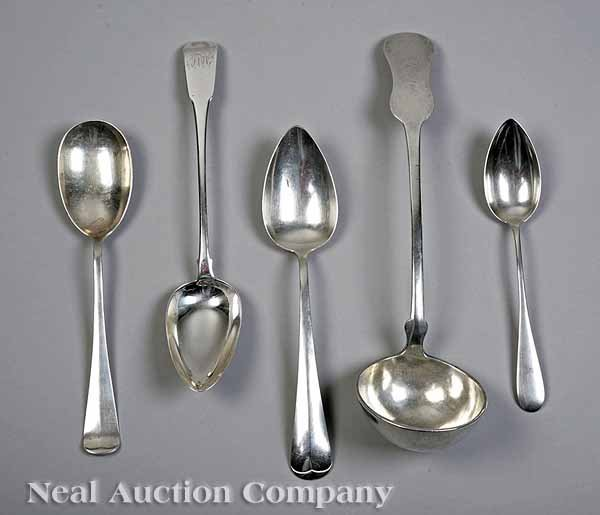 0663: Group of Antique Silver Flatware