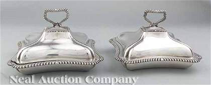 0667 Pair Small Silverplate Covered Entre Dishes