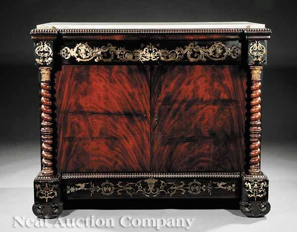 0759: Isabelino Carved Mahogany, Brass Inlaid Cabinets