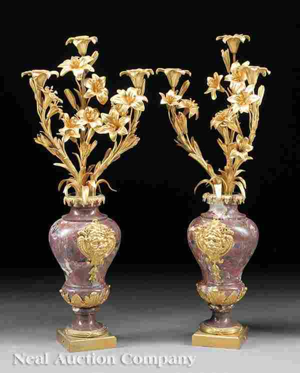 0790: Pair Gilt Bronze, Rouge Marble Candelabra