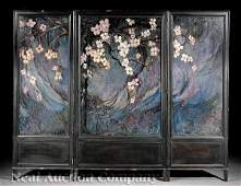 0880 Ebonized and Painted ThreePanel Screen