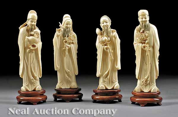 0948: Four Chinese Carved Ivory Figures of Immortals