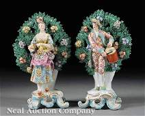 0967 Pair of English Porcelain Bocage Figures