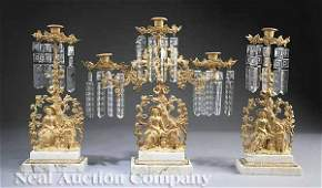 1132: Gilt Brass Three-Piece Girandole Garniture