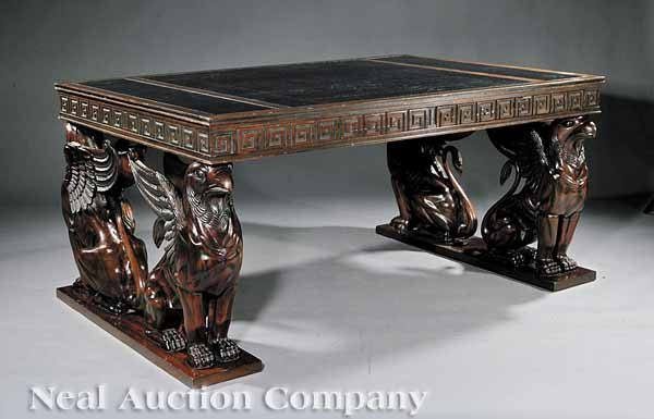 0001: Regency-Style Carved Mahogany Library Table