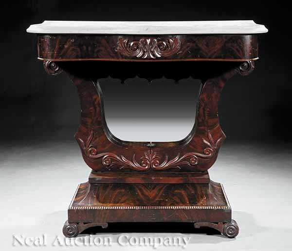 0002: American Late Classical Carved Mahogany Consol
