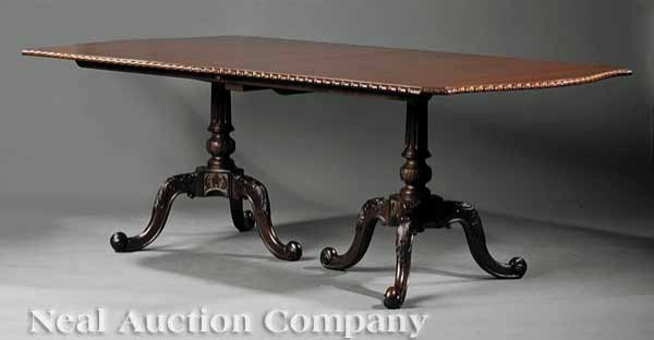 0007: Regency-Style Carved Mahogany Banquet Table