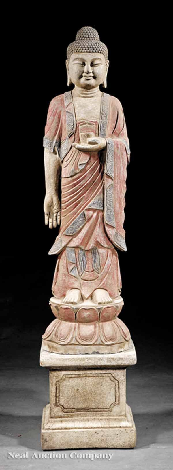 0014: Carved Stone, Polychrome Painted Figure of Buddha