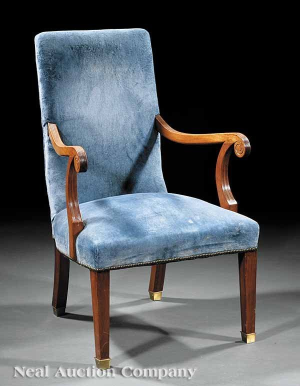 0015: George III Carved Mahogany Library Chair