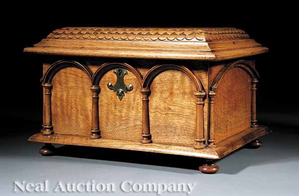 0022: English Gothic Revival Carved, Burl Walnut Coffer
