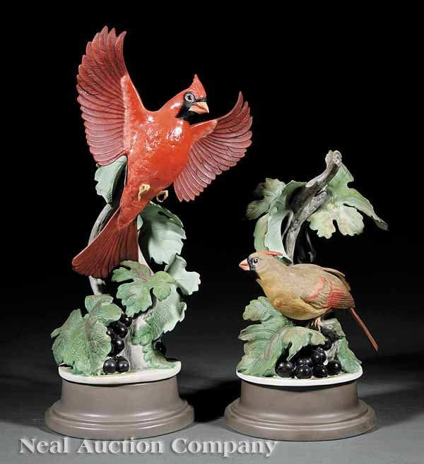 0023: Boehm Porcelain Cardinal Male and Female Figures