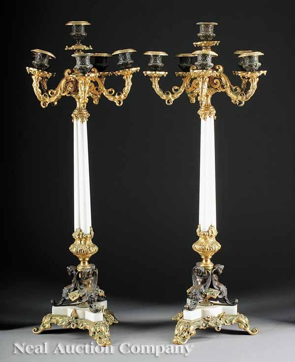 Gilt, Patinated Bronze-Mounted Marble Candelabra