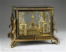 0198 Gilt Bronze and Beveled Glass Cave  Liqueur