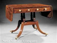 0214: Satinwood and Ebony-Inlaid Mahogany Sofa Table