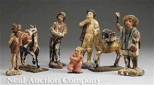 0479: Seven Antique Italian Carved Wood Crèche Figures