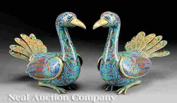 0604: Pair Chinese Cloisonne Enamel Bird-Form Boxes