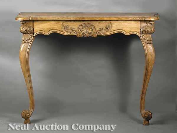 0651: Pair of Carved and Limed Oak Consoles