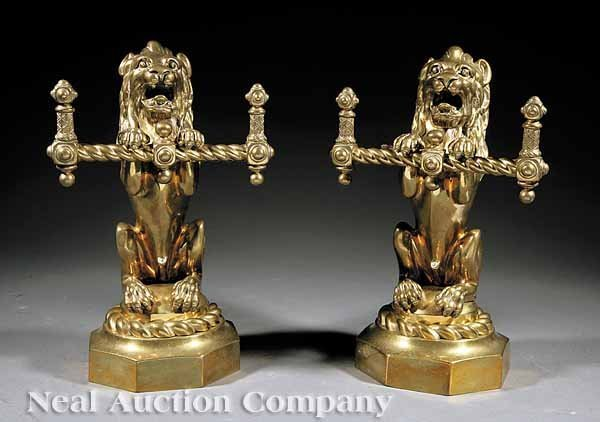 0657: Pair of Brass Lion Fire Tool Stands
