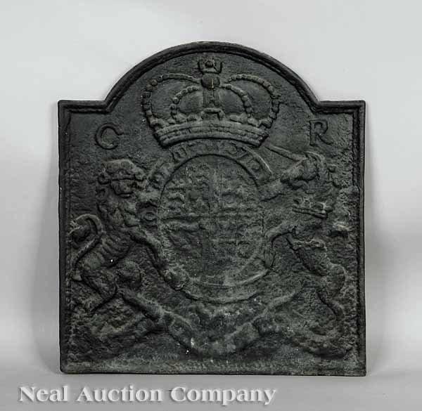 0658: Williamsburg Reproduction Cast Iron Fireback