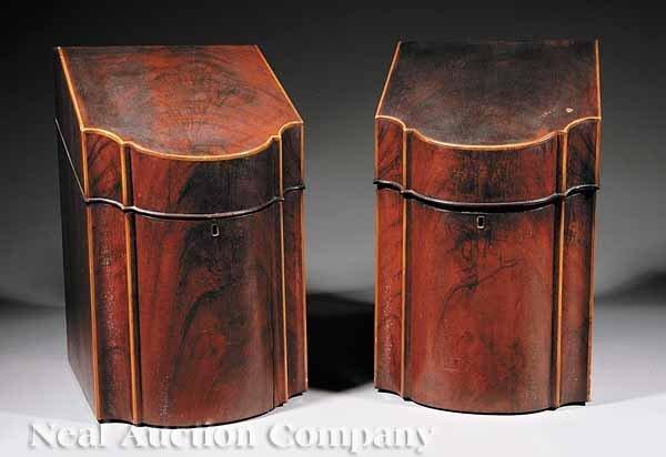 0660: Pair Satinwood Inlaid Mahogany Knife Boxes