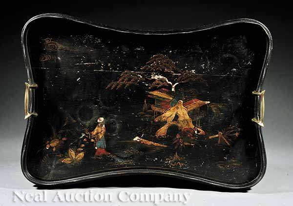 0661: Antique English Chinoiserie Decorated Tray