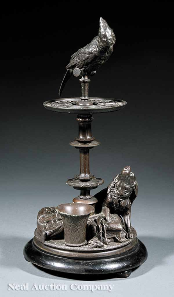 0662: English Patinated Metal Figural Pipe Stand