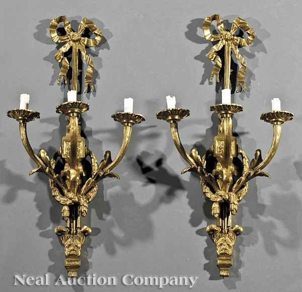 0666: Pair Louis XVI-Style Brass Three-Light Sconces