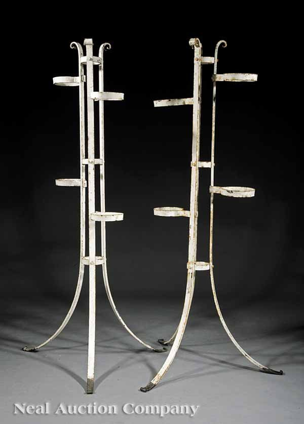 0667: Pair Painted Wrought Iron Plant Stands