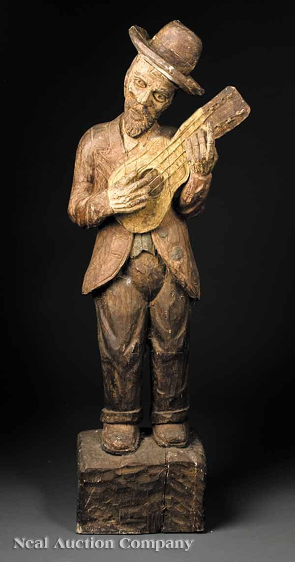0668: Continental Carved and Polychromed Wood Statue