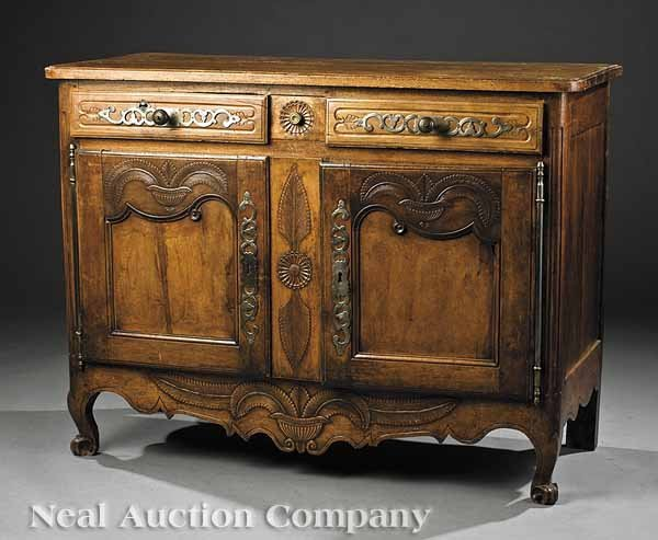 0821: French Provincial Carved Cherrywood Buffett