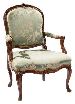 Louis XV Carved Beechwood Fauteuil
