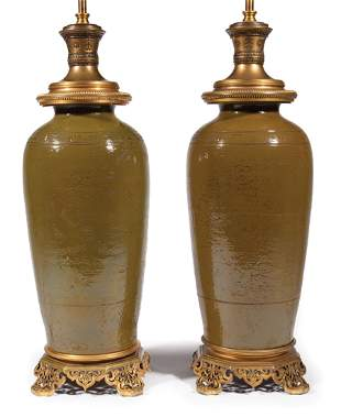 Asian Bronze Mounted Brown Glazed Porcelain Lamps