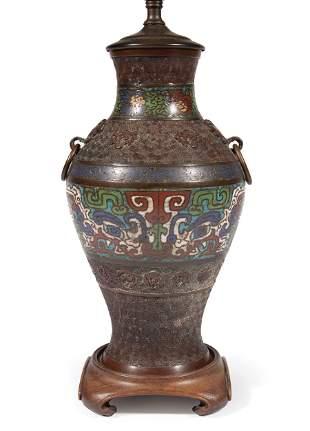 Asian Bronze and Cloisonne Enamel Lamp