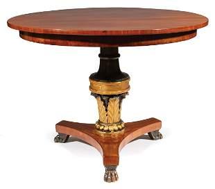Mahogany, Parcel Ebonized and Gilt Center Table