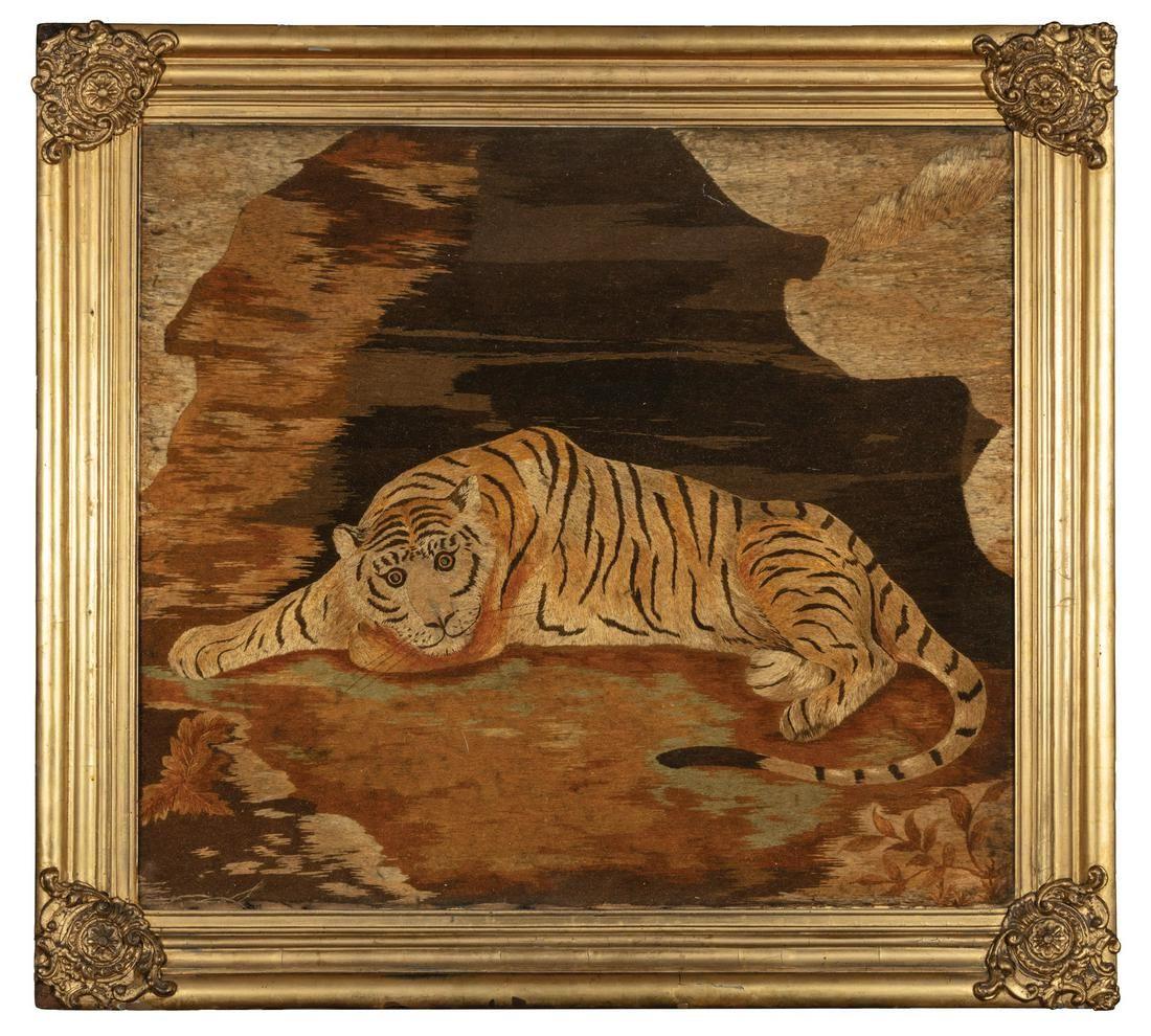 English Regency Needlework of a Recumbent Tiger