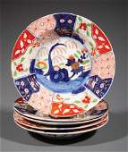 Five Antique English Imari Soup Plates
