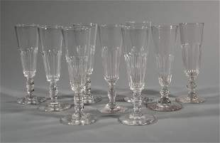 Nine French Panel Cut Crystal Champagne Flutes