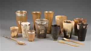 Group of Twelve Antique English Horn Beakers