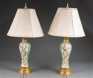 Green and Gilt Porcelain Vasiform Table Lamps