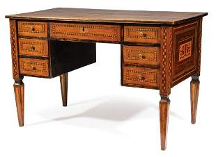 Antique Italian Neoclassical Inlaid Walnut Desk