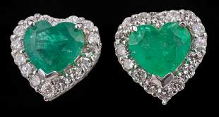 White Gold, Emerald and Diamond Stud Earrings