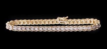 14 kt. Yellow Gold and Diamond Line Bracelet