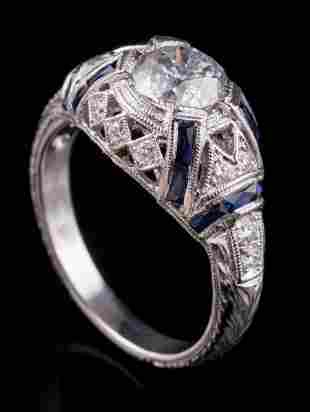 18 kt. White Gold, Diamond and Sapphire Ring