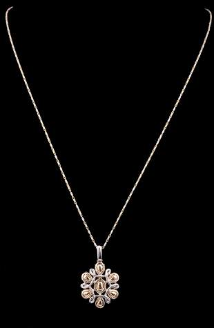 14 kt. White and Yellow Gold and Diamondn Pendant