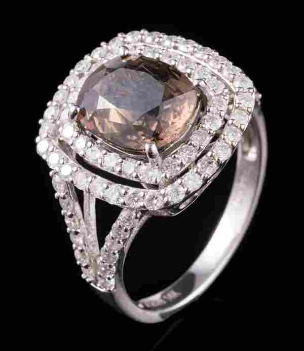 18 kt. White Gold, Sapphire and Diamond Ring