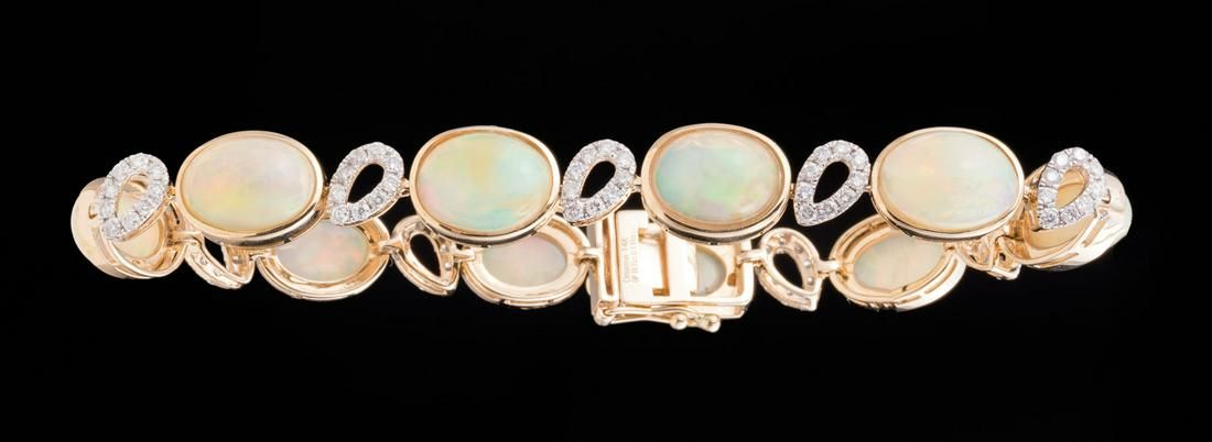 14 kt. Yellow Gold, Opal and Diamond Bracelet